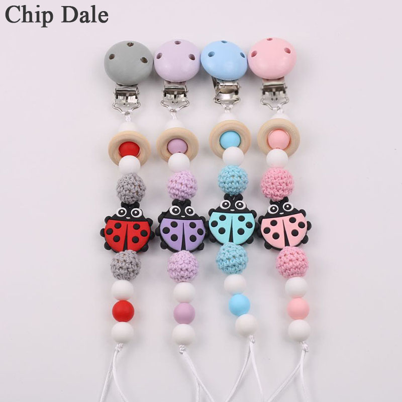 Chip Dale Handmade Insect Silicone Pacifier Chain Clip Dummy Holder For Infant Baby Shower Gift