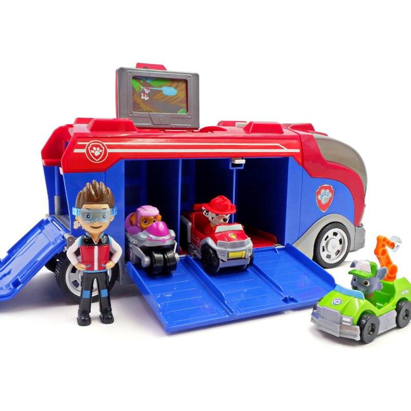 С принтом из мультфильма «Щенячий патруль набор игрушек для Everest трекер фигурку собаки из мультфильма «Щенячий патруль» для дня рождения с рисунком из аниме Рисунок патруль Paw patrulla canina, игрушка в подарок - Цвет: Bus