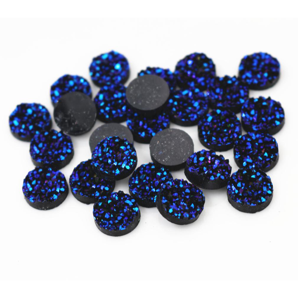 Fashion 40pcs 8mm 10mm 12mm Ice Blue Purple Color Natural Ore Style Flat Back Resin Cabochons For Bracelet Earrings Accessories