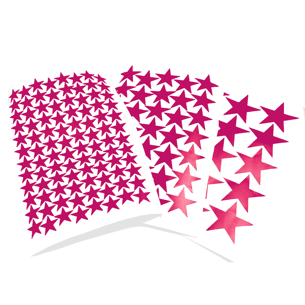 3/5/7cm Vinyl Rose Red Color Stars Wall Stickers Die Cut Matte PVC Kids Room Wall Decor Home DIY Star Decal Wall Art Stationery