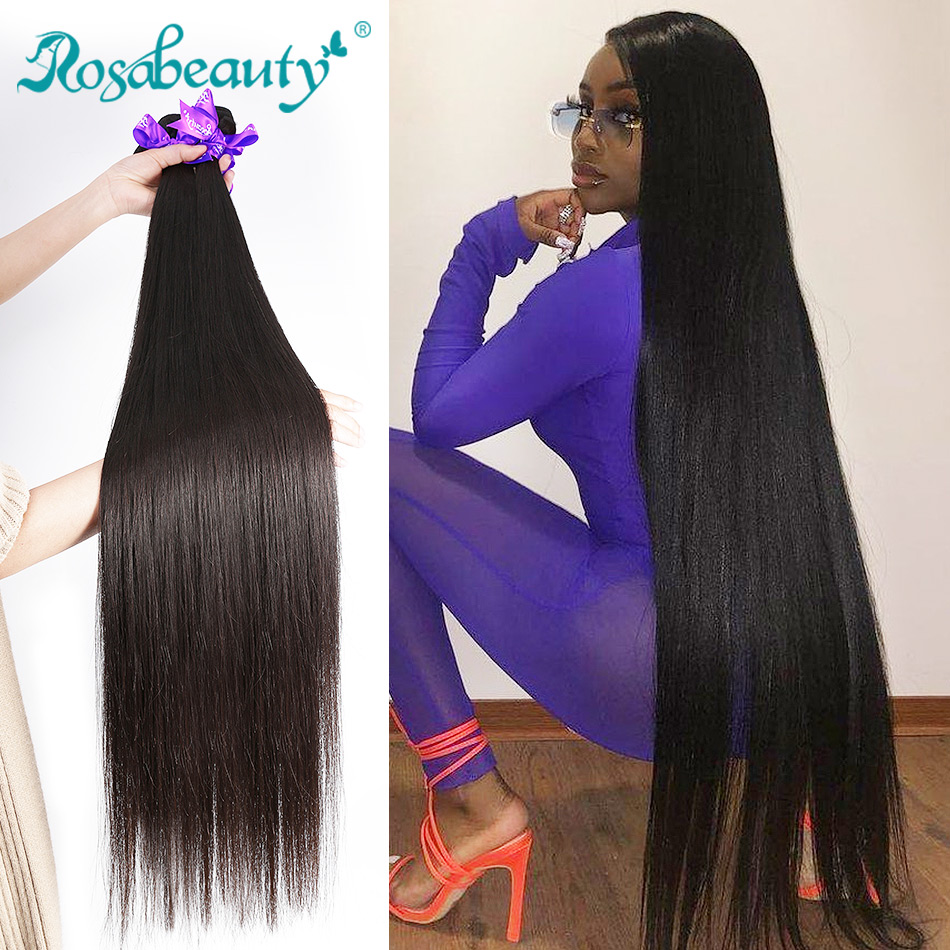 RosaBeauty 8 To 28 30 40 Inch Natural Color Brazilian Hair Weave 1 3 4 Bundles Straight 100% Remy Human Hair Extensions Weft