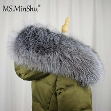 Ms. MinShu настоящий воротник из серебристого лисьего меха с капюшоном, меховая отделка из натурального Лисьего меха, капюшон с отделкой, шарф, большой меховой воротник на заказ