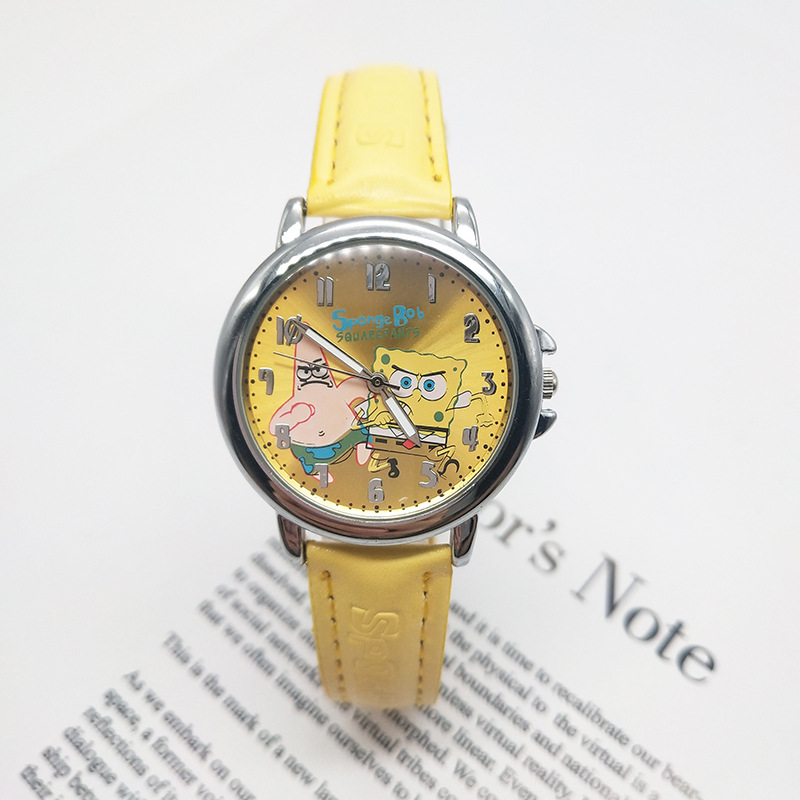 Fashion Cute Cartoon Children Sponge Treasure Watch High Quality Hot Sale Children Watch Boy Student Belt Cartoon Watch