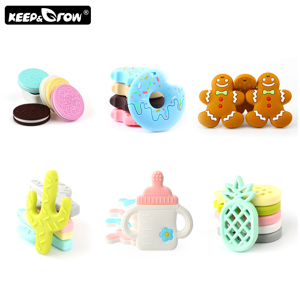Keep&Grow 1pc BPA Free Baby Teethers Food Grade Silicone Teether Baby Teething Chew Silicone Beads DIY Teething Necklace Toys
