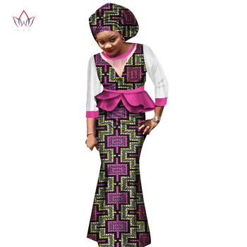 2018 جديد تنورة الأفريقية مجموعات للنساء الدانتيل النسيج مزيج طباعة الشمع النسيج تنورة بدلة أعلى + تنورة + حك الزفاف WY1551