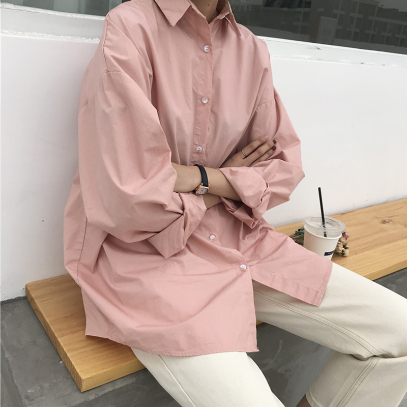 100% cotton Women's Blouse 4 Colors oversized blouses BF style shirts 2020 Spring Autumn long sleeve Tops Loose Blusas Mujer Women Women's Blouses Women's Clothings cb5feb1b7314637725a2e7: Beige|Green|Pink|White