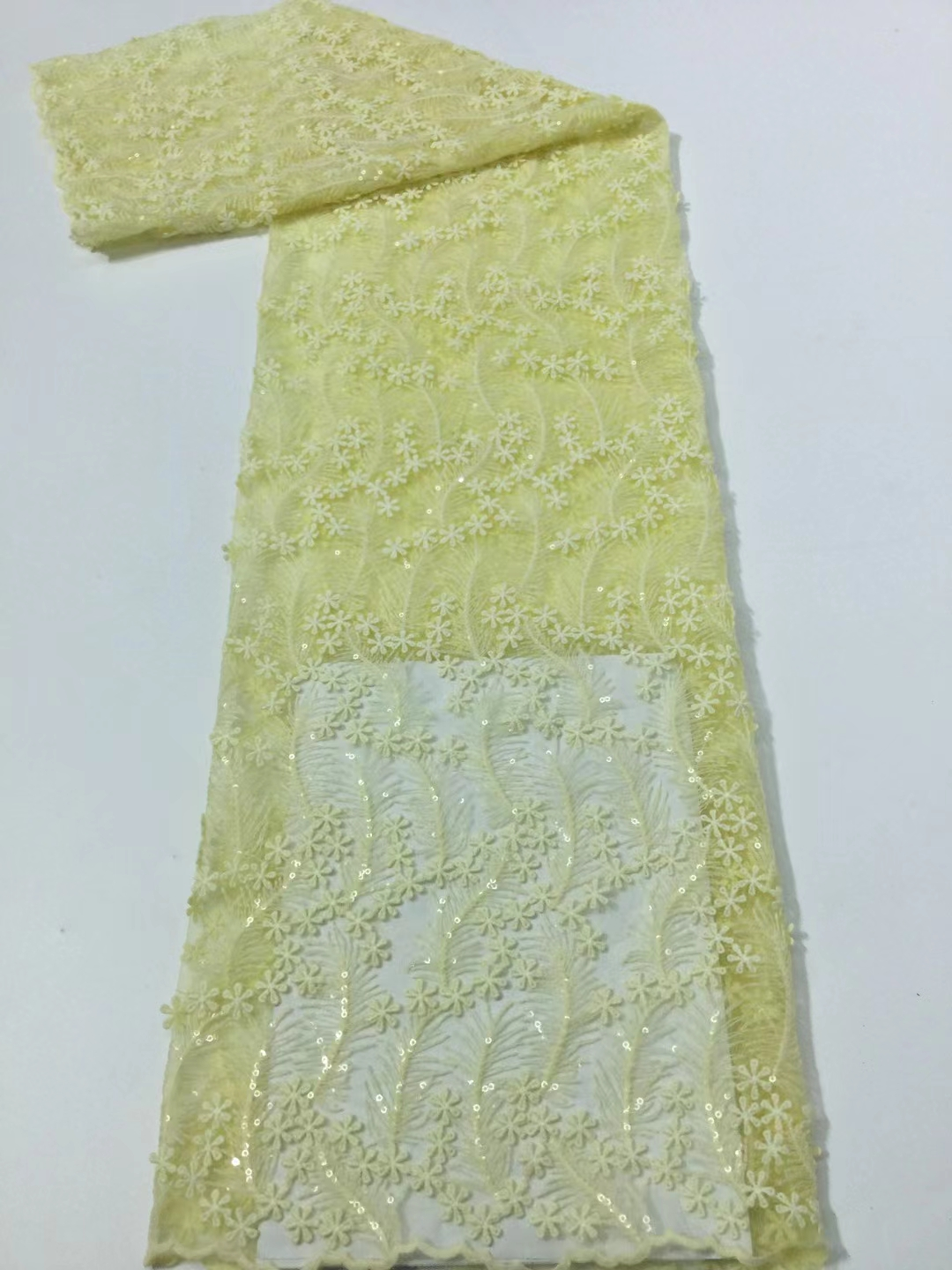 2021Classic Yellow Superior Quality Elegant Latest African Tulle Mesh Lace with Sequins Fabric For Wedding Dress NN366_N