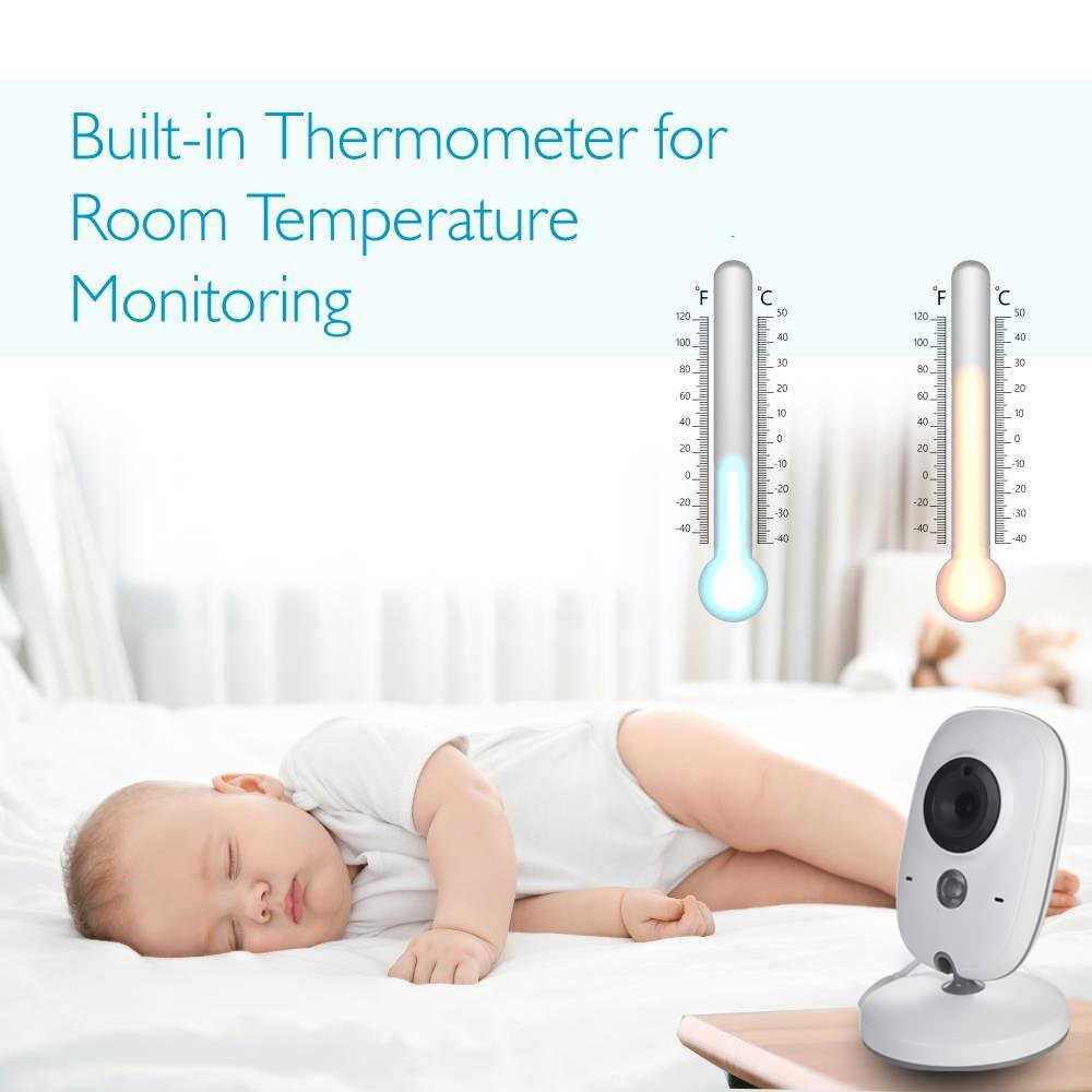 جهاز مراقبة الطفل اللاسلكي مع رؤية ليلية بأشعة تحت الحمراء, جهاز لاسلكي LCD 3.2 بوصة ، مع 8 أغاني للنوم، مراقبة بالفيديو