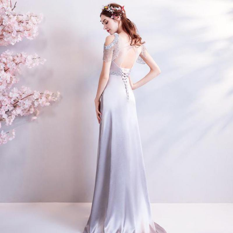 2019 nova jovem mãe prata cinza longo escuro v sexy seda borla tubo vestido superior