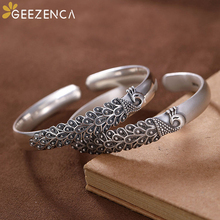 Vintage 999 Sterling Thai Silver Peacock Open Bangle Bracelets Simple Ethnic Bangles Resizable Fine Jewelry for Women Cute Party emith fla 100% real 999 sterling silver bangle opening fashion jewelry for women lotus adjustable vintage thai silver bracelets