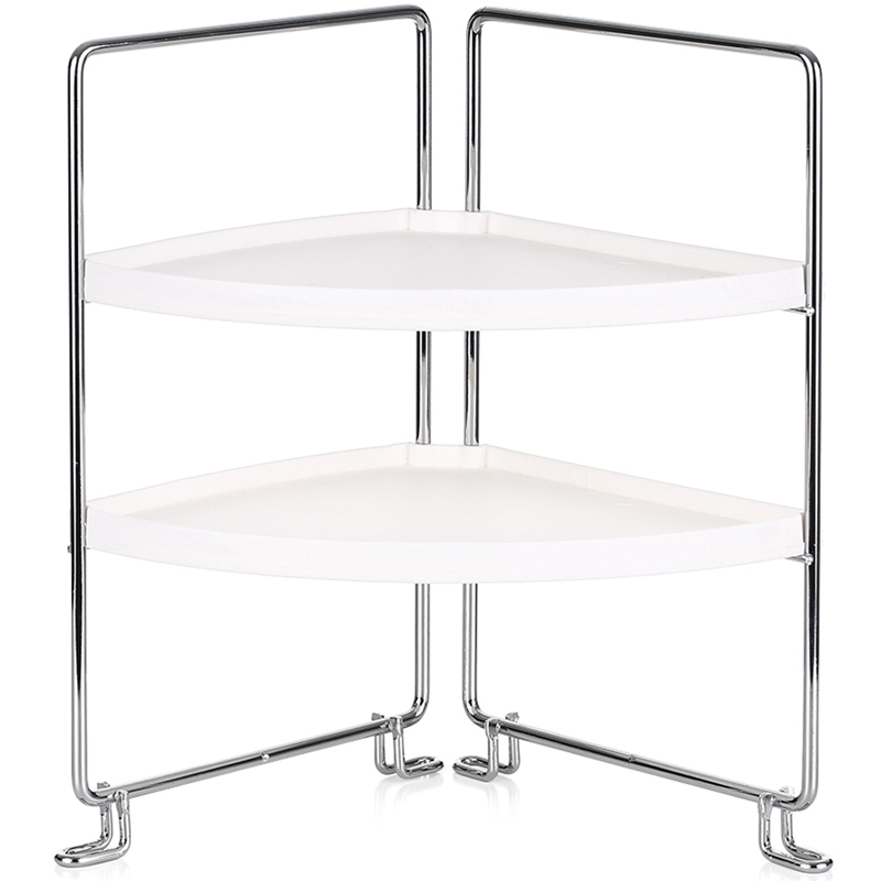 2-Tier Corner Freestanding Storage Rack Stackable Organizer Shelf For Kitchen Bathroom Countertop Cabinet Storage Shelf Stand