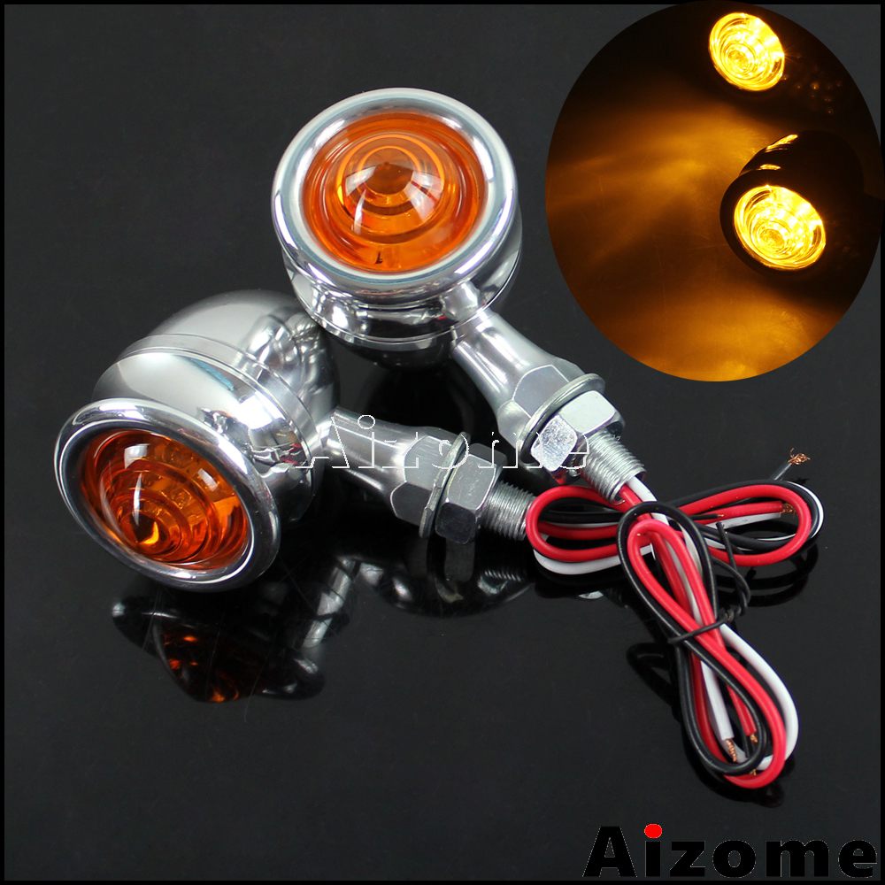 Motorcycle Polish Blinkers Bullet Turn Signals Amber Light Old School Turn Indicators For Harley Honda Yamaha Suzuki Triumph