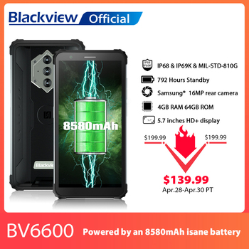 "Blackview bv6600 ip68 impermeável 8580mah áspero smartphone octa núcleo 4gb + 64gb 5.7 ""telefone móvel 16mp câmera nfc android 10 1"