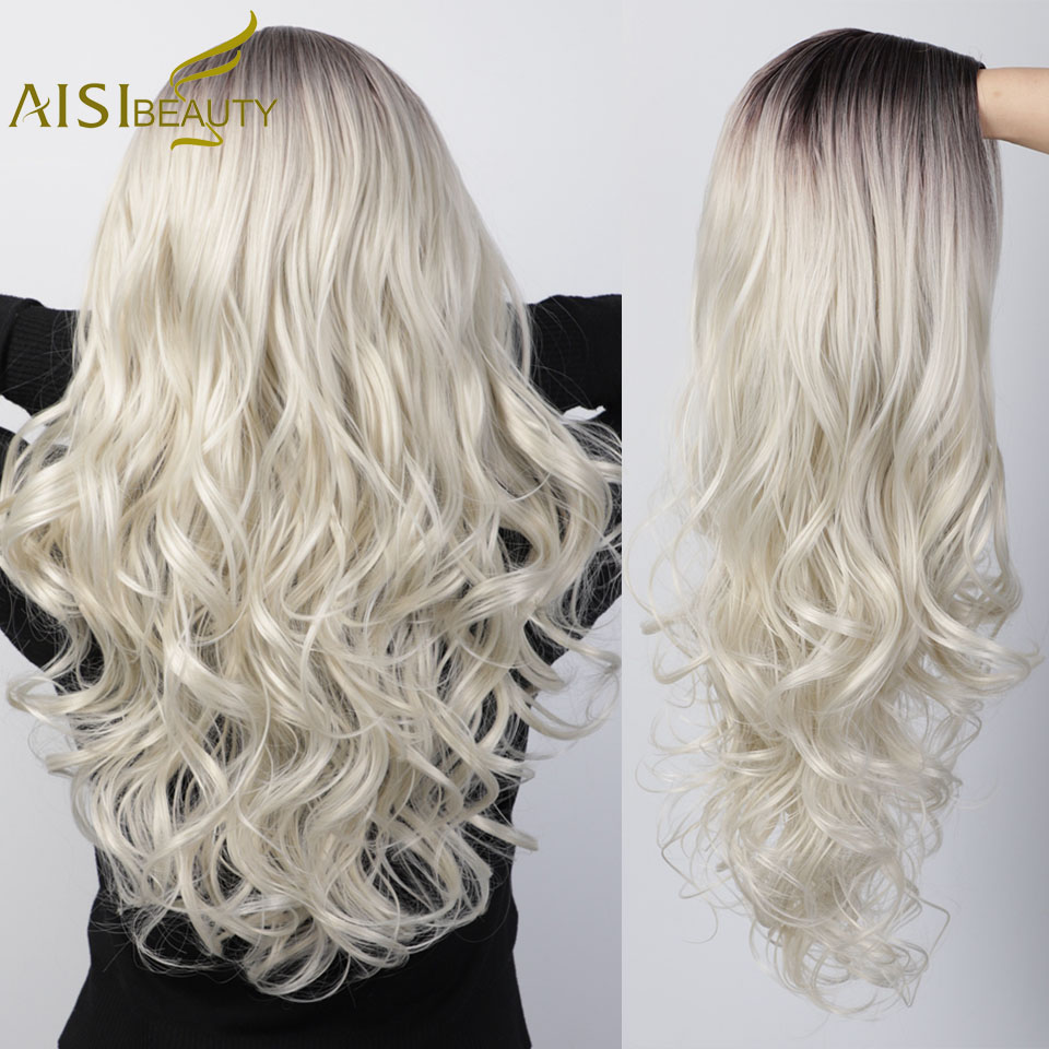 AISI BEAUTY Long Wavy Synthetic Wigs Ombre Platinum Blonde Women Wigs For African American Middle Part Black Grey Cosplay Wigs