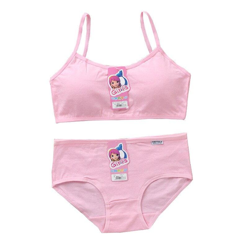 Girls Bra Sets Teenage Cotton Padded Training Bra Panties Sports Panties Underwear 8-14Years