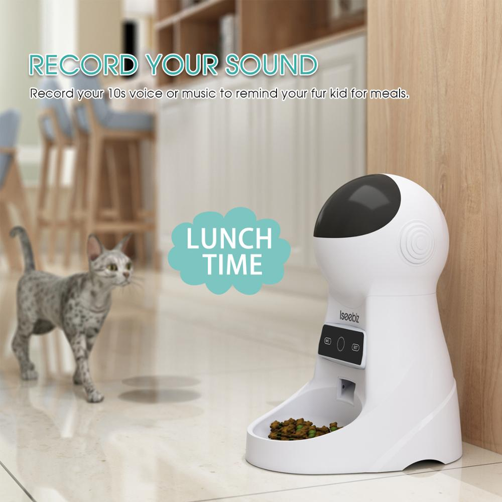 Iseebiz 3L Automatic Pet Feeder With Voice Record Pets Food Bowl For Medium Small Dog Cat LCD Screen Dispensers 4 Times One Day 3