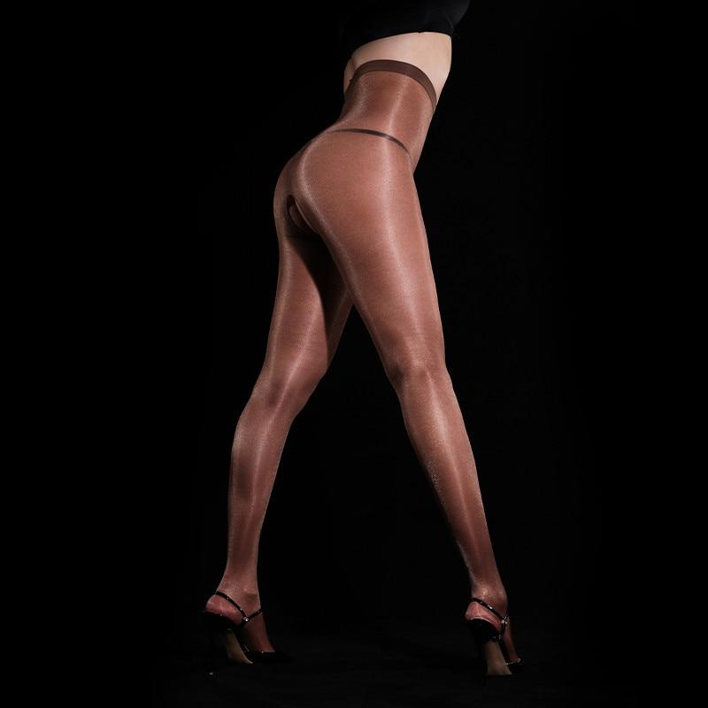 Sexy Shiny Sheer Kontrolle Top Ouvert Strumpfhosen Seidige Strümpfe Shimmery Hohe Taille Strumpfhosen