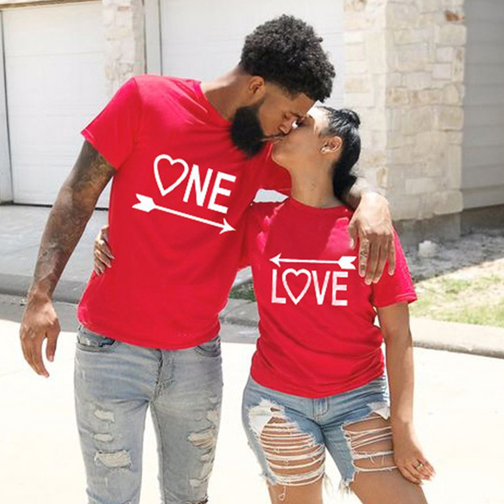 T-Shirt Women Casual Tops Tshirt Men's And Women's Valentine's Day O-Neck Letters Slim Fit Short Sleeve T-Shirt T-Shirt Female