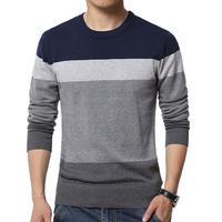 Мужской свитер в стиле пэчворк с круглым вырезом и длинным рукавом, пуловер, свитера, мужская блузка, вязаный свитер, Зимний пуловер для мужч...