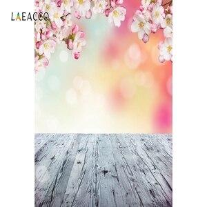 Image 4 - خلفيات خلفية للربيع من Laeacco أزهار أزهار على شكل عشب خوخه أرضية خشبية للأطفال حديثي الولادة خلفيات تصوير فوتوزون