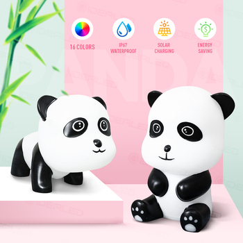 Cute 3D Cartoon panda RGBW led night lamp Solar/USB charging waterproof table lamp  for Children Kids Chirstmas Birthday Gift