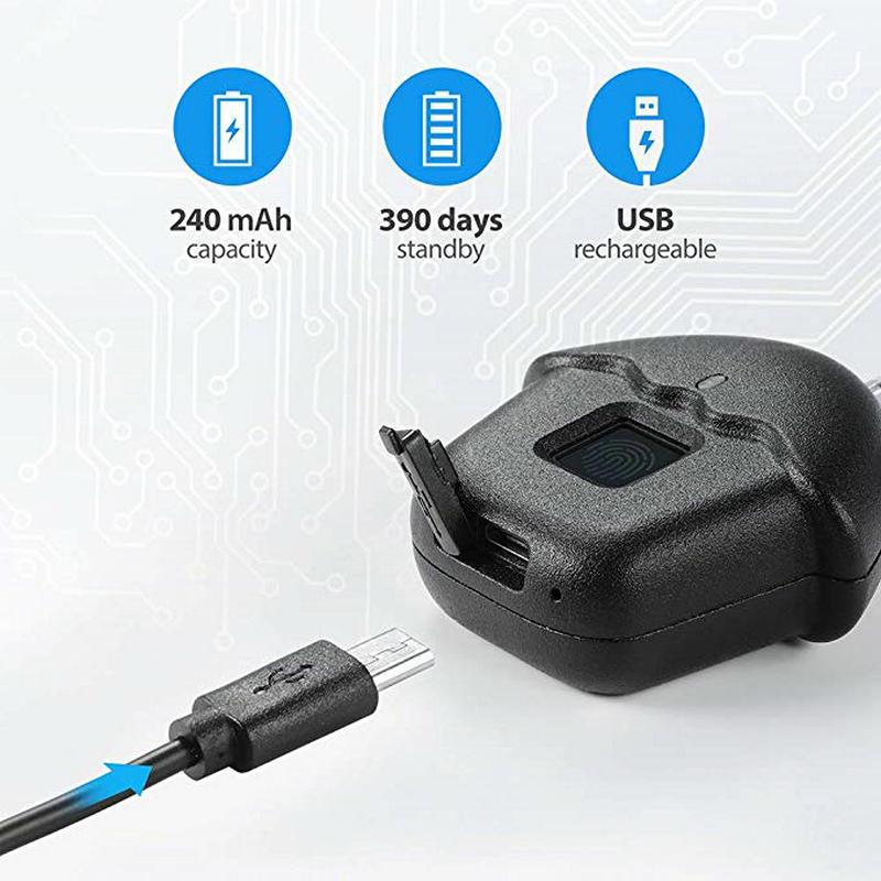 Cadenas intelligent d'empreinte digitale sans clé pour la fixation rétractable et mécanisme d'attache de sécurité serrure antivol sécurité avec USB recharge batterie IP65 étanche - 4