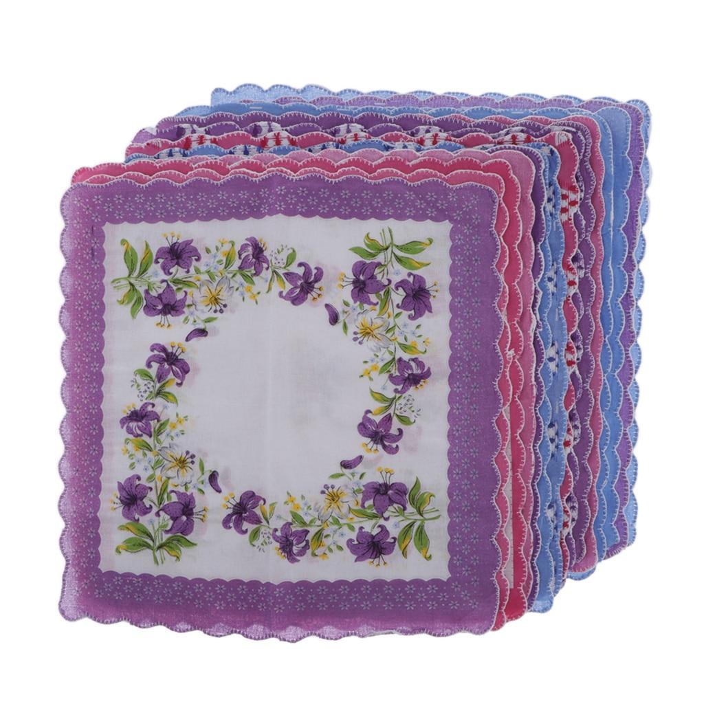 Pocket Sqaure Hanky Purple Whith15pcs Womens Vintage Floral Print Cotton Handkerchief