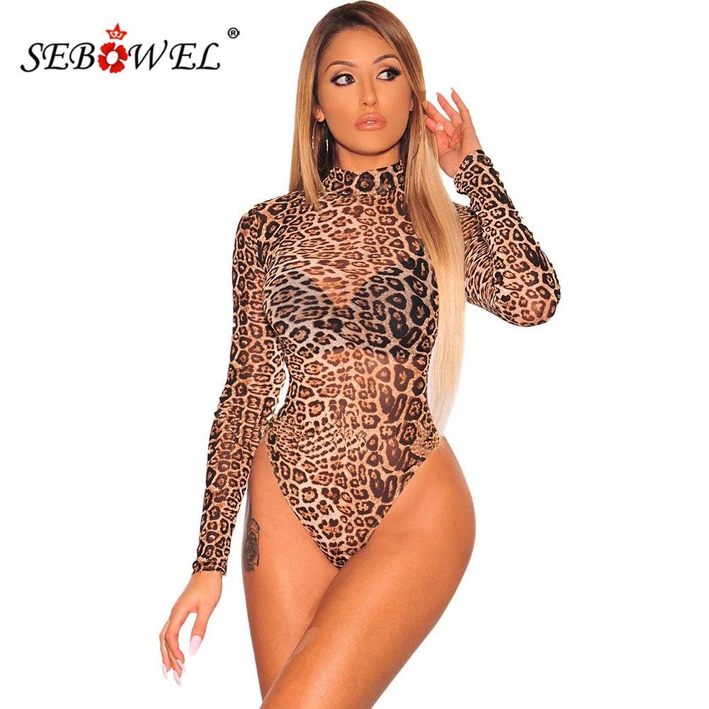 SEBOWEL Leopard Snake Print Long Sleeve Transparent Bodysuit Woman Spring Autumn Female Turtleneck Sheer Mesh Body Top Clothing
