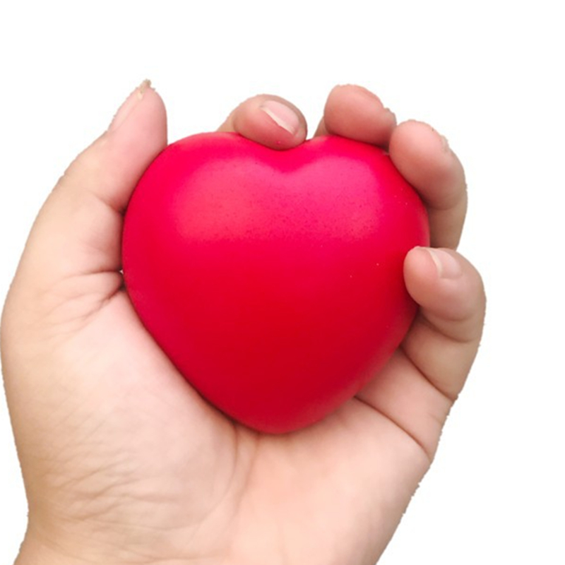 7cm Red Heart Squeeze Balls Exercise Grip Ball Soft PU Foam Hand Finger Training Anti Stress Games Toys For Kids Children