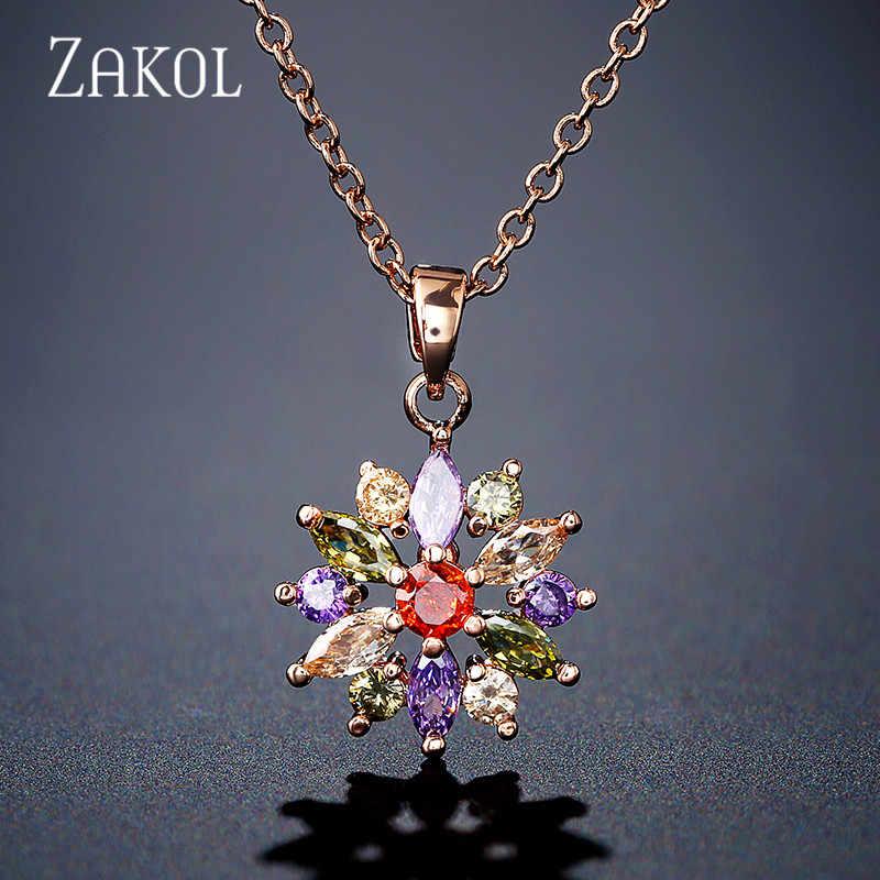 ZAKOL moda różowe złoto kolor wisiorki kwiat klastra jasnego kryształu cyrkonu słodkie naszyjniki dla kobiet biżuteria FSNP2105