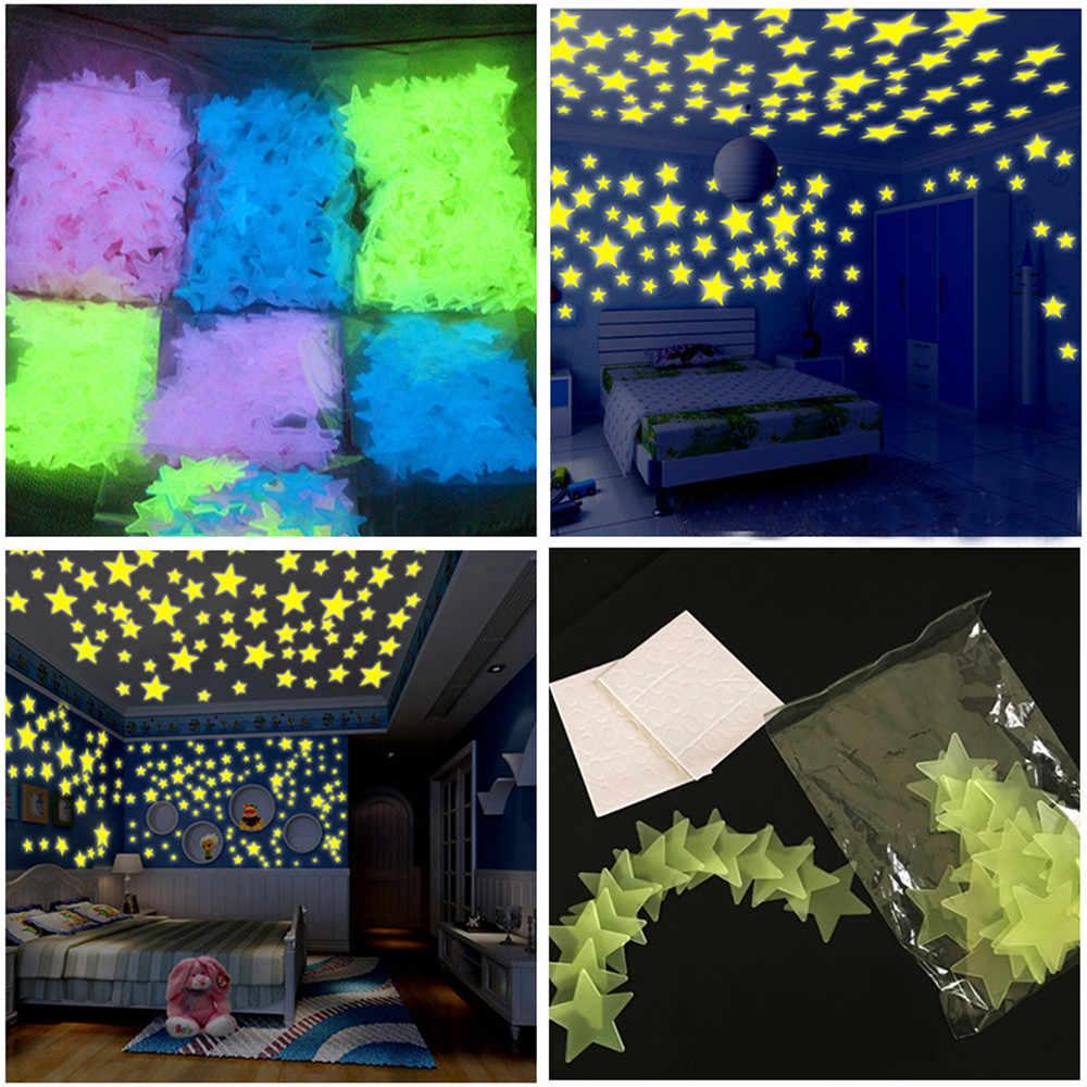 50PC Glow In The DarkStar Wall Stickers Round Dot Kids room Fluorescent Glow In The Dark Snowflake Wall Stickers Стикер стены