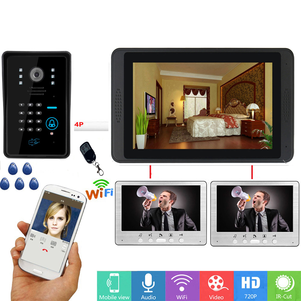 RFID Password Access APP Remote Unlock Video Intercom 7 Inch Monitor Wifi Wireless Video Door Phone Doorbell Visual Intercom KIT