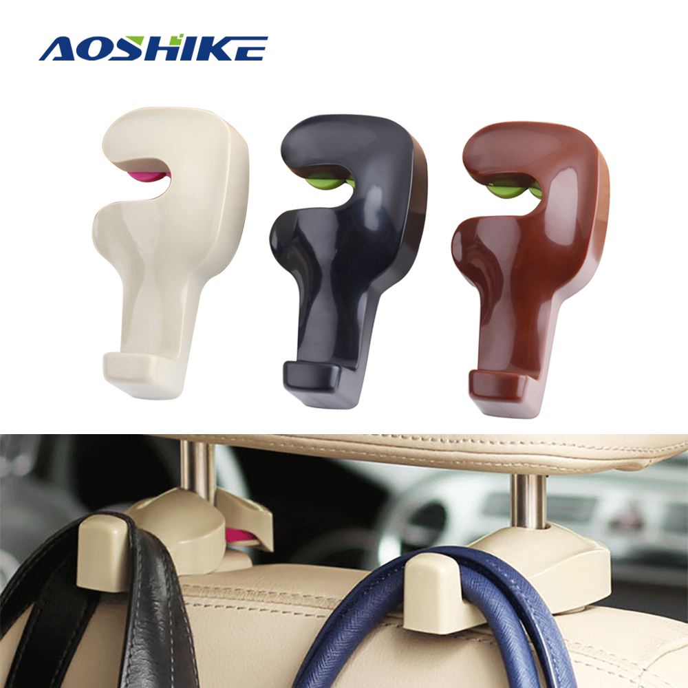 AOSHIKE Car Rear Seat Backrest Bracket Head Hook Automatic Hooks Clip For Purse Cloth Supermarket Automobile Interior Accessorie
