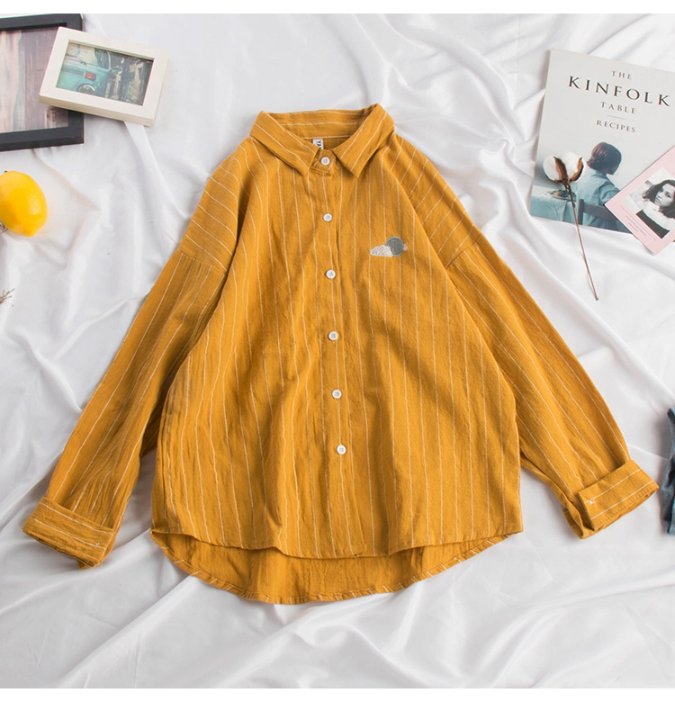 New Cotton Linen Summer Autumn Blouse Women Kawaii Weather Embroidery Ladies Sweet Striped Tops Shirt Korean Loose Blusas Mujer