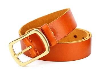 Echtes leder kuh haut kupfer bukcle pin gürtel für männer hohe qualität