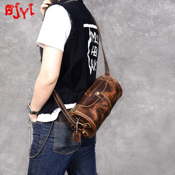 Vintage distressed leather men's bag small messenger bag male genuine leather shoulder bucket bag men crossbody bags