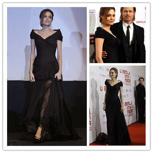 Angelina car-styling new hot&sexy v-neck black long evening gown 2018 floor-length red carpet mother of the bride dresses