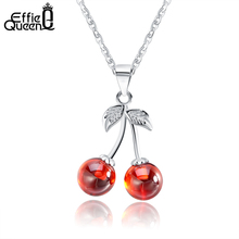 Effie Queen 925 Sterling Silver Jewelry Red Natural Stone Cherry Pendant Necklaces Cute Chain Necklace Charm Jewelry Hot TSN03 effie queen 925 sterling silver women earrings red garnet aaa cz cute fairy round stud earing natural stone silver jewelry be99