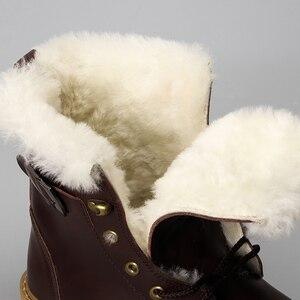 Image 5 - 天然ウールの冬のブーツ男性暖かい牛革冬 # YM008