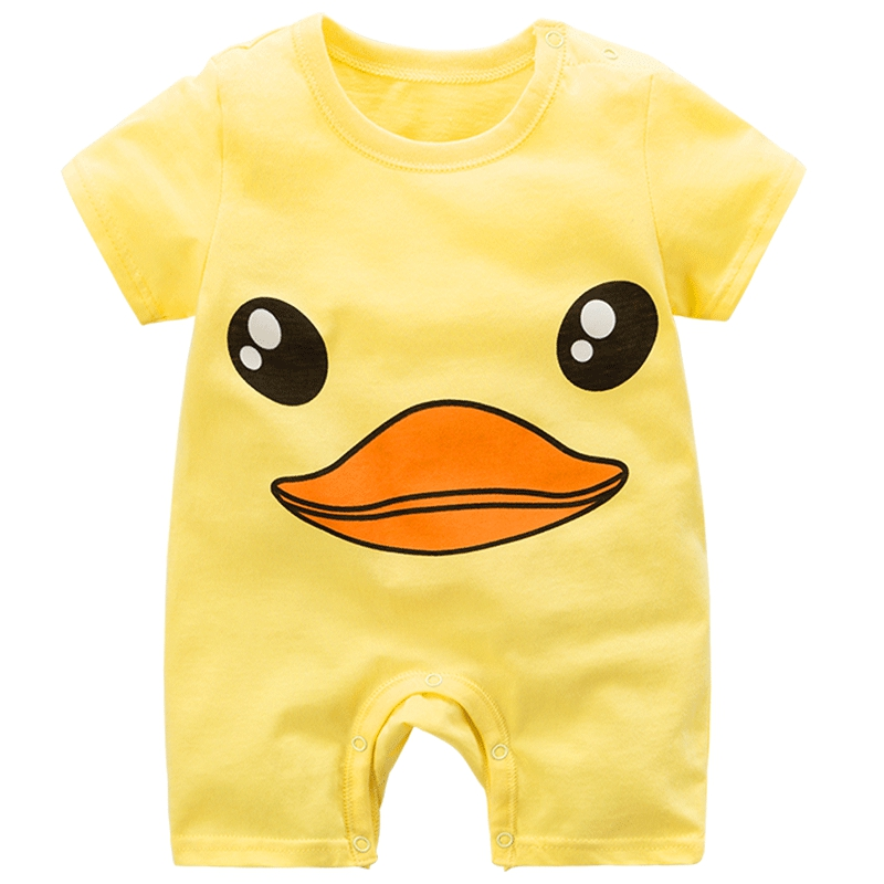 Baby Girl   Romper   Summer Yellow Duck Baby Boy Jumpsuit Cotton New Born Baby Clothes baby costume new born baby girl clothes