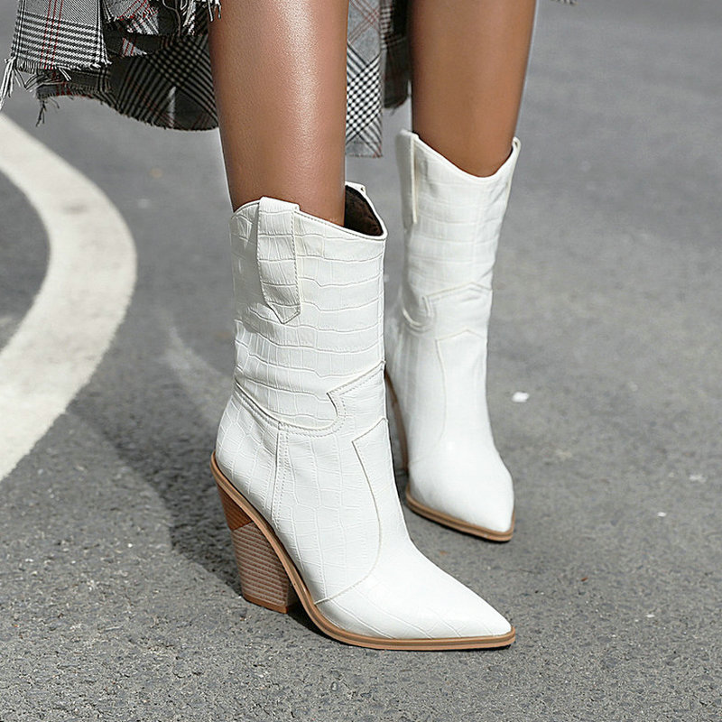 2019 Autumn Women Boots Pu Leather Wedge High Heel Ankle Boots Pointed Toe Winter Cowboy Boots Fashion Western Boots Black White