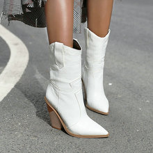 2019 Autumn Women Boots Pu Leather Wedge High Heel Ankle Pointed Toe Winter Cowboy Fashion Western Black White