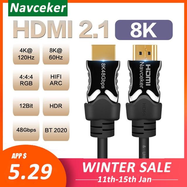 2020 beste 8K 48Gbps 2,1 HDMI Kabel 4K HDMI 2,1 Kabel eARC Cabo HDMI 2,1 UHD Dynamische HDR HDMI 2,1 Kabel für 8K Samsung QLED TV