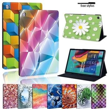 Impresión de cuero Pu soporte Tablet funda para Samsung Galaxy Tab A A6 7 10/Tab E S5E Tablet plegable funda protectora