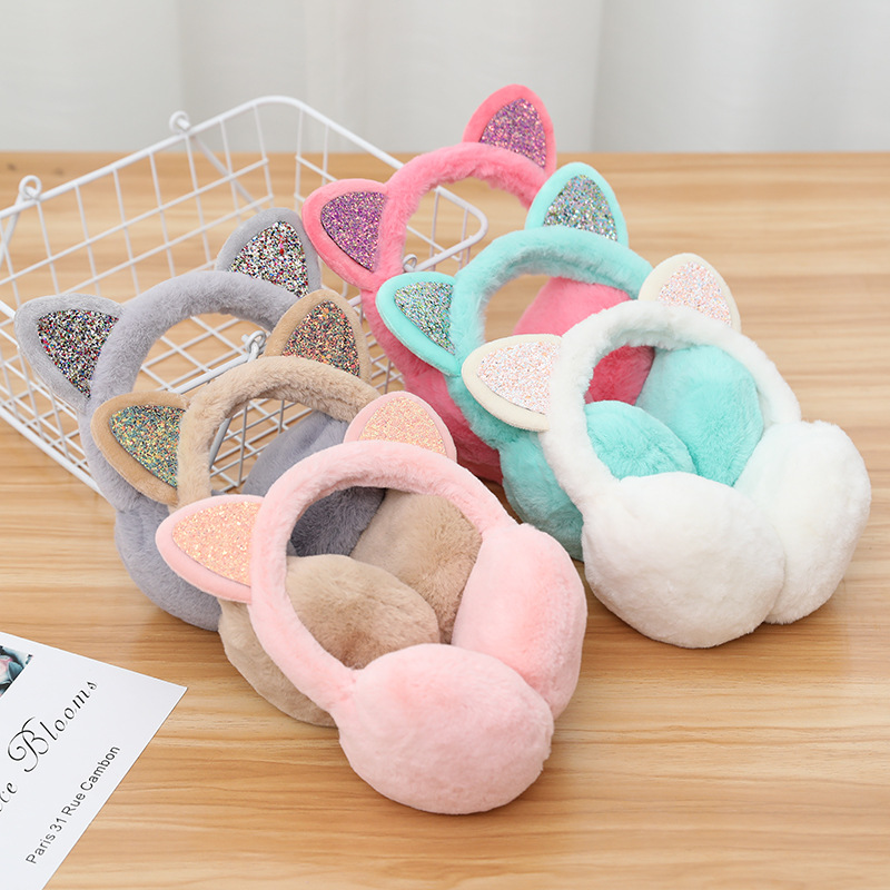 Cartoon Sequins Earmuff Japanese Style Women New Lovely Pure Color Autumn Winter Warm Cold Proof Ears Shape Foldable Earmuffs