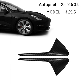 Autopilot 2.0-3.0 Real Carbon Fiber Side Markers Turn Signal Covers for Tesla Model 3 SX Pair of Overlays Easy Install Lightwei