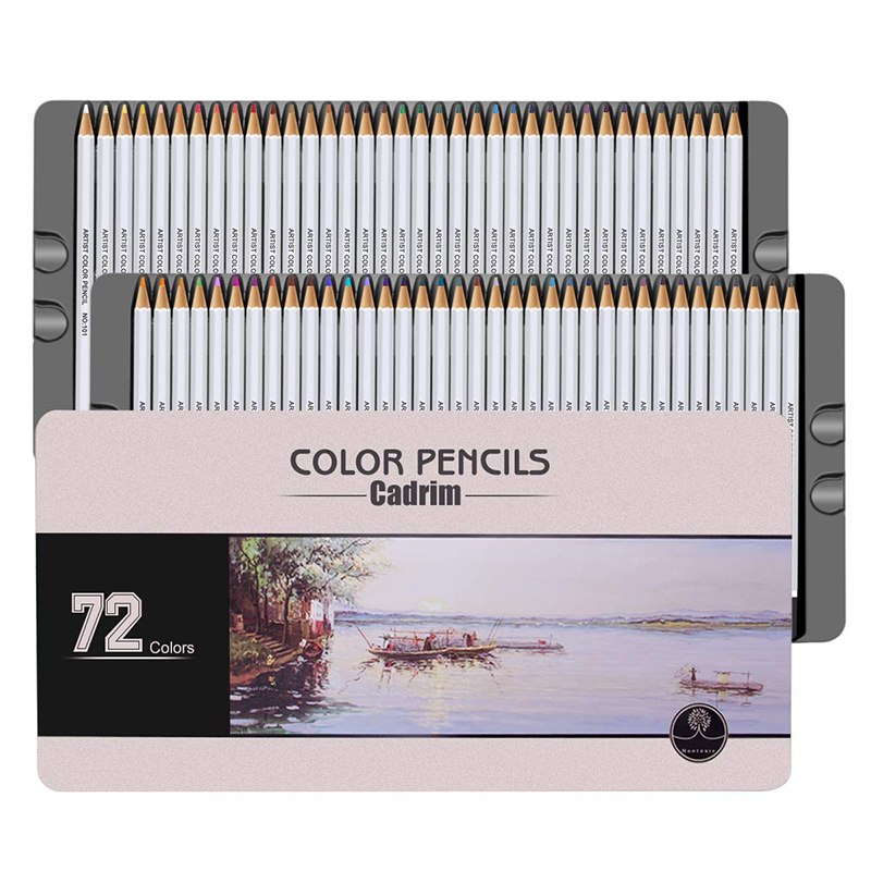 72/150 Colored Pencils Set Crayons with Metal Box for Adult Artists Colouring Books or Kids School Supplies Ideal Christmas Gift image