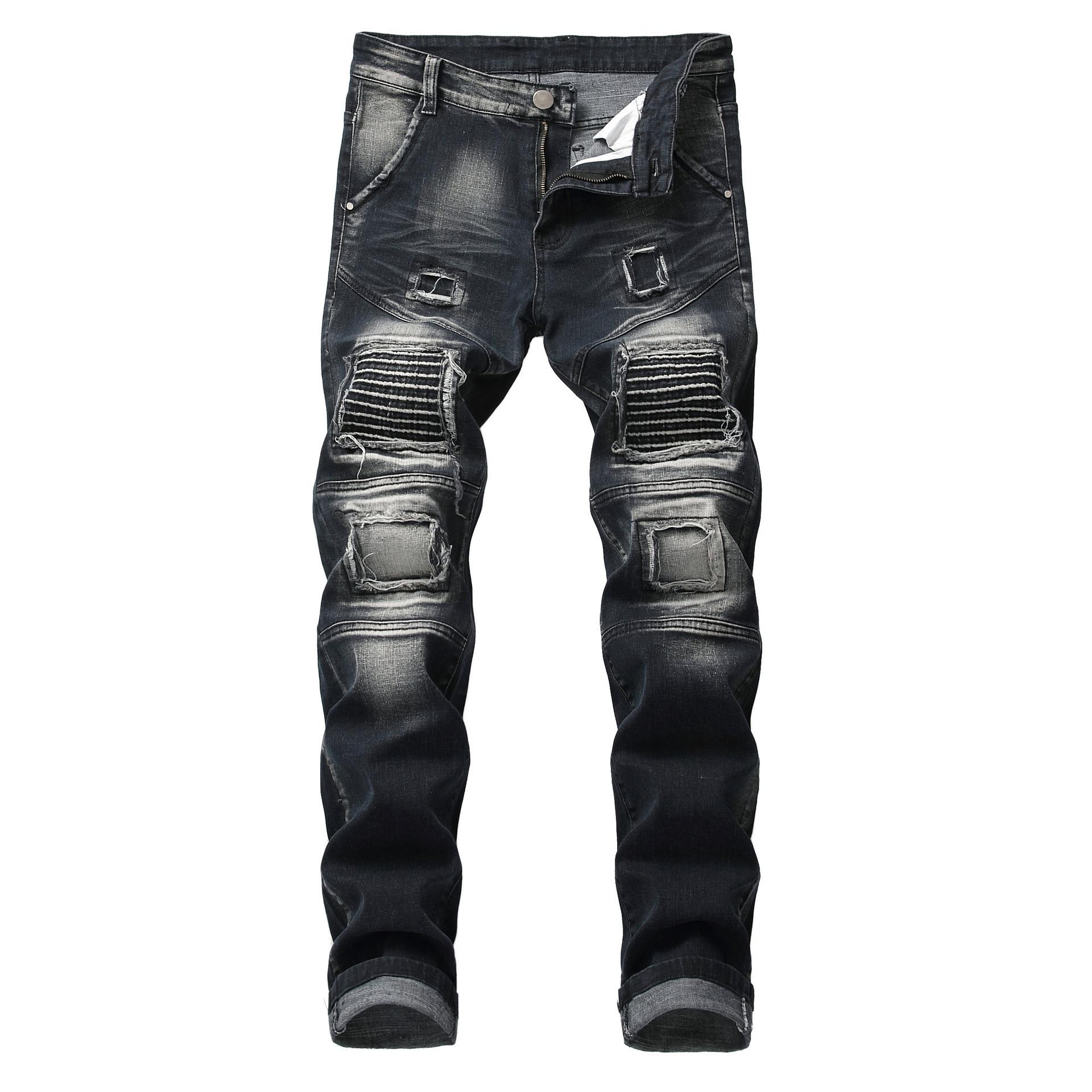 Yeni erkek streç denim kot elastik delik rahat çekme renkli işlemeli artı boyutu yıkanmış denim pantolon