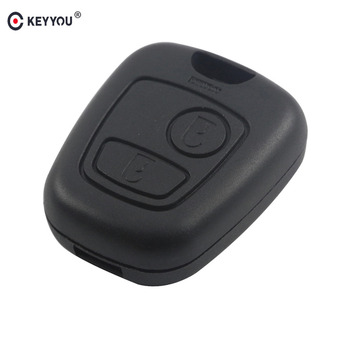 KEYYOU 100x 2 Buttons Remote Car Key Uncut Blade For Peugeot 206 No Blade