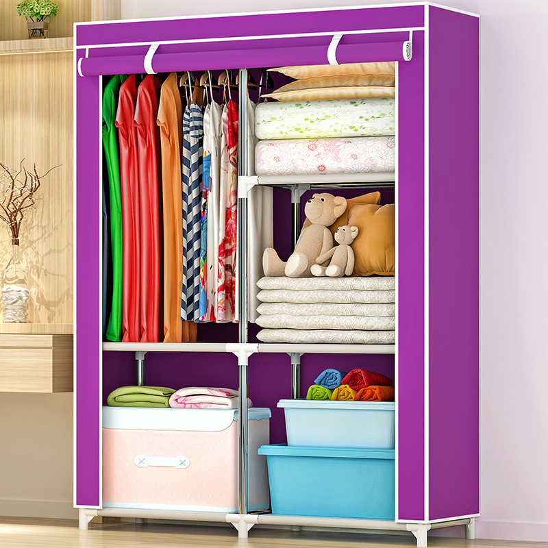 Cloth Storage Reinforced Steel Frame Simple Wardrobe Single Person Simplicity Storage Assembly Storage Wardrobe Cabinet